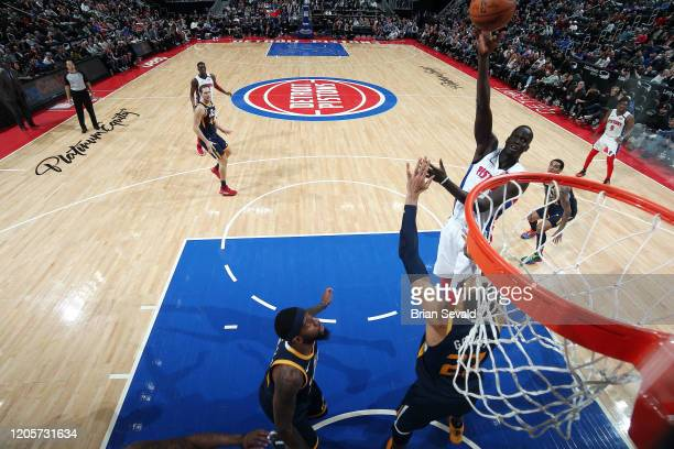 Thon Maker of the Detroit Pistons shoots the ball against the Utah Jazz on March 7 2020 at Little Caesars Arena in Detroit Michigan NOTE TO USER User...