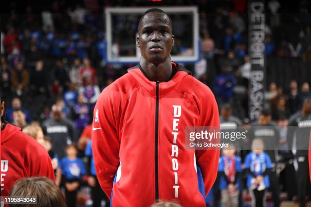 Thon Maker of the Detroit Pistons stands for the National Anthem prior to the game against the Sacramento Kings on January 22, 2020 at Little Caesars...