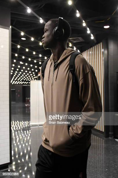 Thon Maker of the Milwaukee Bucks arrives to the arena prior to Game Five of Round One of the 2018 NBA Playoffs against the Boston Celtics on April...