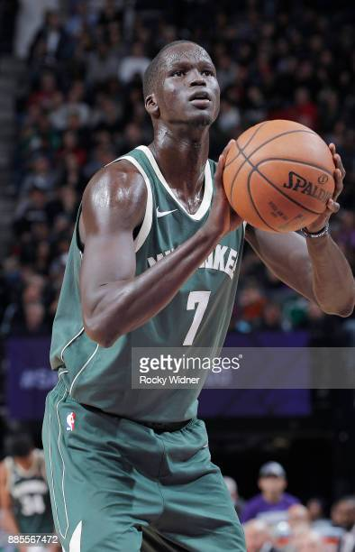 Thon Maker of the Milwaukee Bucks attempts a freethrow shot against the Sacramento Kings on November 28 2017 at Golden 1 Center in Sacramento...