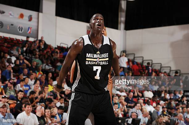 Thon Maker of the Milwaukee Bucks boxes out against the Memphis Grizzlies during the 2016 NBA Las Vegas Summer League game on July 11 2016 at the Cox...