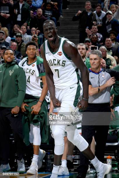 Thon Maker of the Milwaukee Bucks celebrates during the game against the Boston Celtics in Game Three of Round One of the 2018 NBA Playoffs on April...