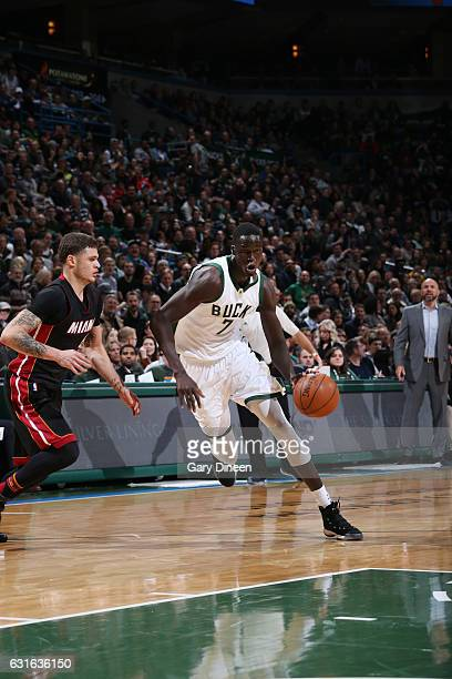 Thon Maker of the Milwaukee Bucks drives to the basket during a game against the Miami Heat on January 13 2017 at the BMO Harris Bradley Center in...