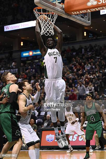 Thon Maker of the Milwaukee Bucks dunks against the Boston Celtics at the BMO Harris Bradley Center on January 28 2017 in Milwaukee Wisconsin NOTE TO...