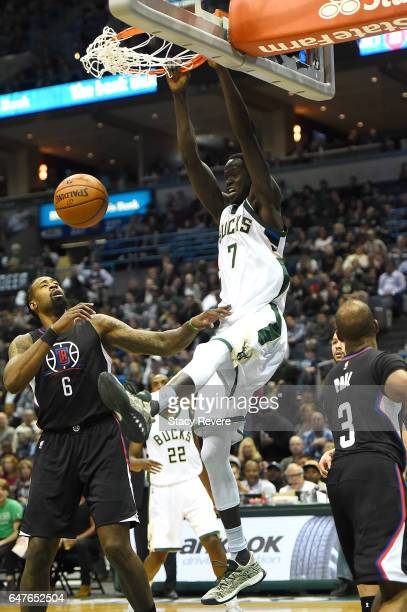 Thon Maker of the Milwaukee Bucks dunks against the Los Angeles Clippers during the first half of a game at the BMO Harris Bradley Center on March 3...