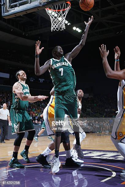 Thon Maker of the Milwaukee Bucks grabs the rebound against the Indiana Pacers during a preseason game on October 12 2016 at Ford Center in...