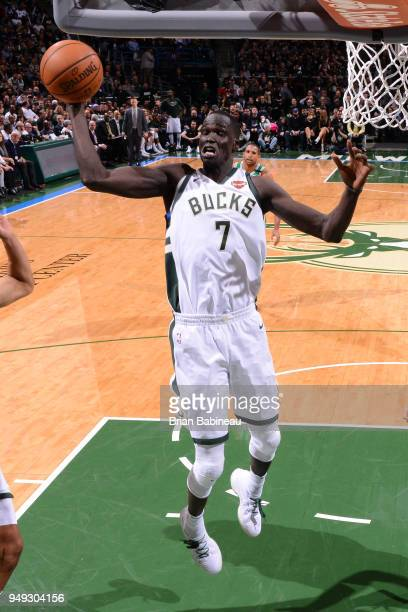 Thon Maker of the Milwaukee Bucks grabs the rebound against the Boston Celtics in Game Three of Round One of the 2018 NBA Playoffs on April 20 2018...