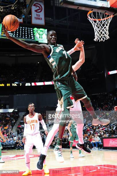 Thon Maker of the Milwaukee Bucks handles the ball against the Atlanta Hawks on October 29 2017 at Philips Arena in Atlanta Georgia NOTE TO USER User...