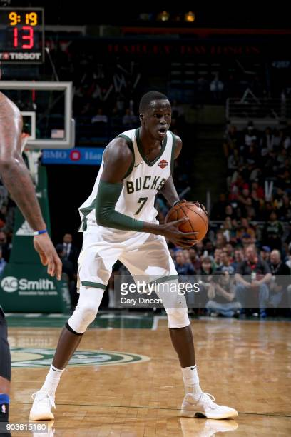 Thon Maker of the Milwaukee Bucks handles the ball against the Orlando Magic on January 10 2018 at the BMO Harris Bradley Center in Milwaukee...