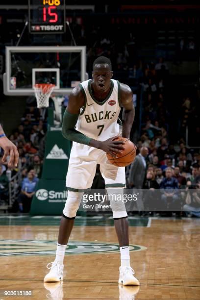 Thon Maker of the Milwaukee Bucks handles the ball against the Orlando Magic on January 10 2018 at the BMO Harris Bradley Center in Milwaukee...