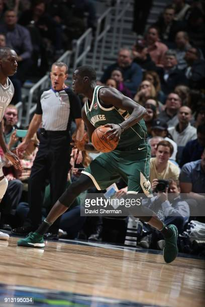 Thon Maker of the Milwaukee Bucks handles the ball against the Minnesota Timberwolves on February 1 2018 at Target Center in Minneapolis Minnesota...