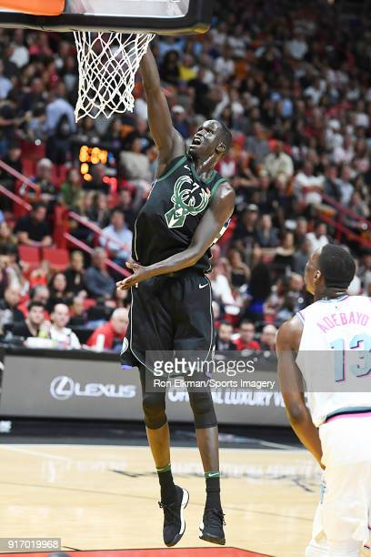 Thon Maker of the Milwaukee Bucks in action during a NBA game against the Miami Heat on February 9 2018 at American Airlines Arena in Miami Florida...