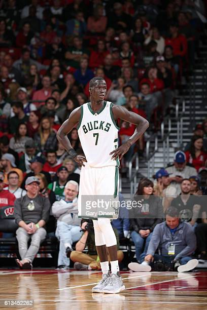 Thon Maker of the Milwaukee Bucks is shown during a preseason game against the Dallas Mavericks on October 8 2016 at the Kohl Center in Madison...