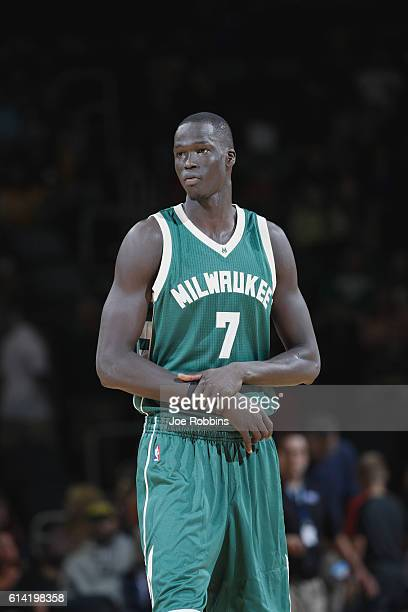 Thon Maker of the Milwaukee Bucks looks on against the Indiana Pacers during a preseason game on October 12 2016 at Ford Center in Evansville Indiana...