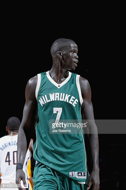 Thon Maker of the Milwaukee Bucks looks on against the Milwaukee Bucks during a preseason game on October 12 2016 at Ford Center in Evansville...