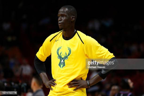 Thon Maker of the Milwaukee Bucks looks on prior to the game against the Miami Heat at American Airlines Arena on December 22 2018 in Miami Florida...