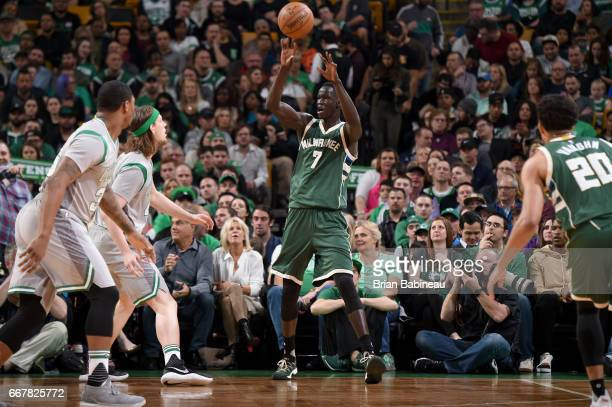 Thon Maker of the Milwaukee Bucks looks to pass the ball against the Boston Celtics on April 12 2017 at the TD Garden in Boston Massachusetts NOTE TO...