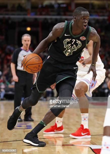 Thon Maker of the Milwaukee Bucks moves against the Chicago Bulls at the United Center on March 23 2018 in Chicago Illinois The Bucks defeated the...