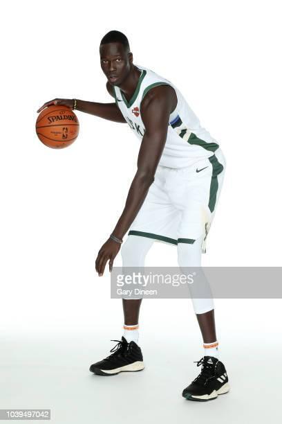 Thon Maker of the Milwaukee Bucks poses for a portrait during Milwaukee Bucks Media Day at Fiserv Forum on September 24, 2018 in Milwaukee,...