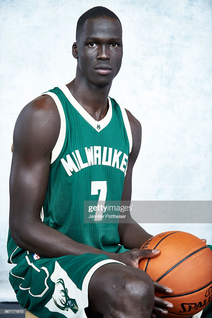 Thon Maker #7 of the Milwaukee Bucks poses for a portrait during the 2016 NBA rookie photo shoot on August 7, 2016 at the Madison Square Garden Training Facility in Tarrytown, New York.