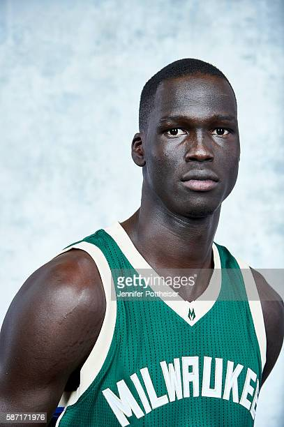 Thon Maker of the Milwaukee Bucks poses for a portrait during the 2016 NBA rookie photo shoot on August 7 2016 at the Madison Square Garden Training...
