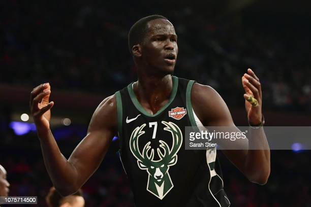 Thon Maker of the Milwaukee Bucks reacts after a call during the first quarter of the game against Milwaukee Bucks at Madison Square Garden on...
