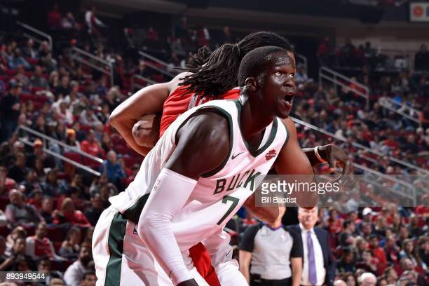 Thon Maker of the Milwaukee Bucks reacts to a play during the game against the Milwaukee Bucks on December 16 2017 at the Toyota Center in Houston...