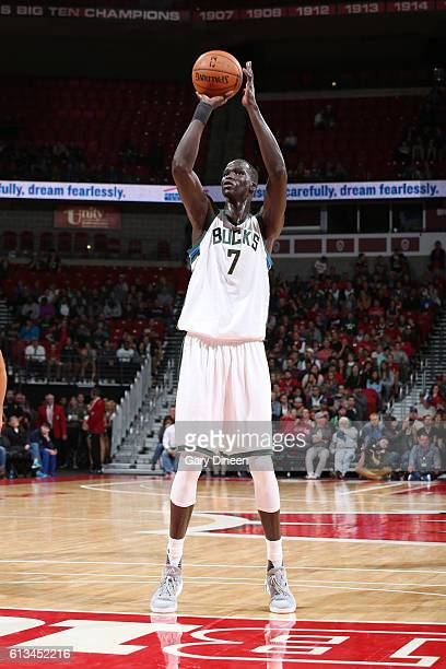 Thon Maker of the Milwaukee Bucks shoots a free throw during a preseason game against the Dallas Mavericks on October 8 2016 at the Kohl Center in...