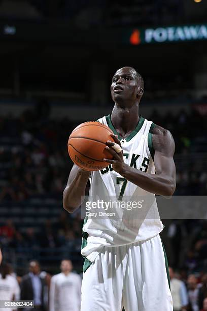 Thon Maker of the Milwaukee Bucks shoots a free throw during the game against the Cleveland Cavaliers on November 29 2016 at the BMO Harris Bradley...