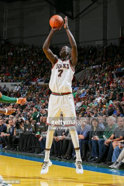 Thon Maker of the Milwaukee Bucks shoots the ball against the Boston Celtics on October 26 2017 at the UWMilwaukee Panther Arena in Milwaukee...