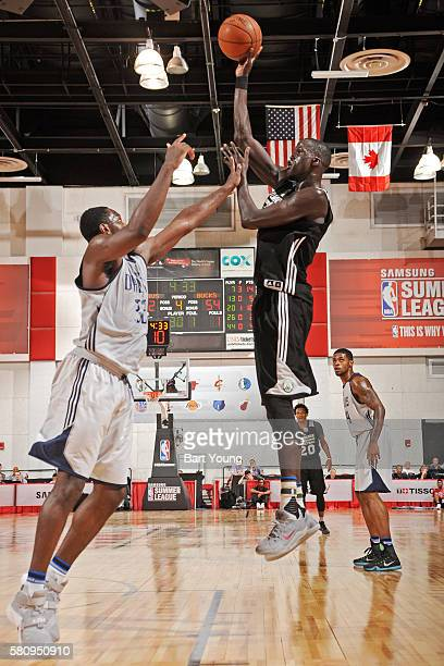 Thon Maker of the Milwaukee Bucks shoots the ball against the Dallas Mavericks during the 2016 Las Vegas Summer League on July 13 2016 at Cox...