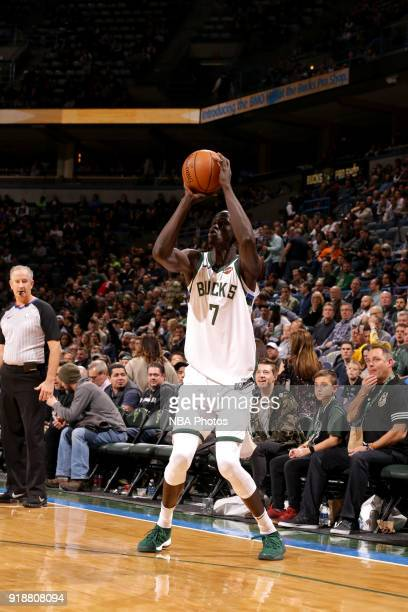 Thon Maker of the Milwaukee Bucks shoots the ball against the Denver Nuggets on February 15 2018 at the BMO Harris Bradley Center in Milwaukee...