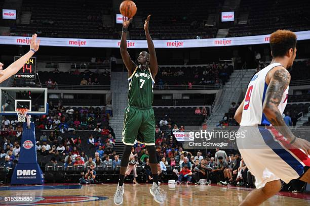 Thon Maker of the Milwaukee Bucks shoots the ball against the Detroit Pistons on October 17 2016 at The Palace of Auburn Hills in Auburn Hills...