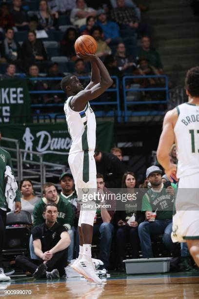 Thon Maker of the Milwaukee Bucks shoots the ball against the Indiana Pacers on January 3 2018 at the BMO Harris Bradley Center in Milwaukee...