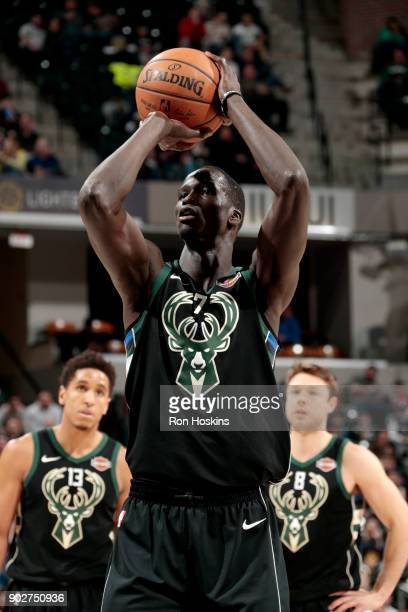 Thon Maker of the Milwaukee Bucks shoots the ball against the Indiana Pacers on January 8 2018 at Bankers Life Fieldhouse in Indianapolis Indiana...