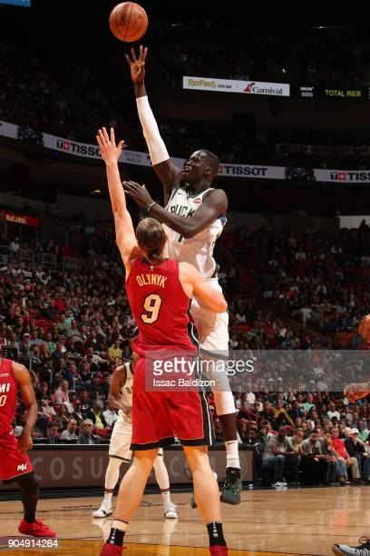 Thon Maker of the Milwaukee Bucks shoots the ball against the Miami Heat on January 14 2018 at American Airlines Arena in Miami Florida NOTE TO USER...