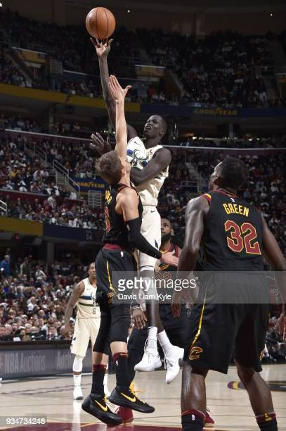 Thon Maker of the Milwaukee Bucks shoots the ball against the Cleveland Cavaliers on March 19 2018 at Quicken Loans Arena in Cleveland Ohio NOTE TO...