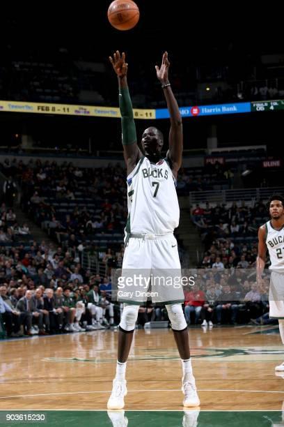 Thon Maker of the Milwaukee Bucks shoots the ball against the Orlando Magic on January 10 2018 at the BMO Harris Bradley Center in Milwaukee...