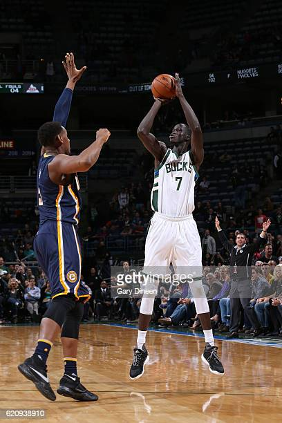 Thon Maker of the Milwaukee Bucks shoots the ball during a game against the Indiana Pacers on November 3 2016 at the BMO Harris Bradley Center in...