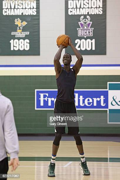 Thon Maker of the Milwaukee Bucks shoots the ball during an all access practice on November 9 2016 at the Milwaukee Bucks Training Center in St...