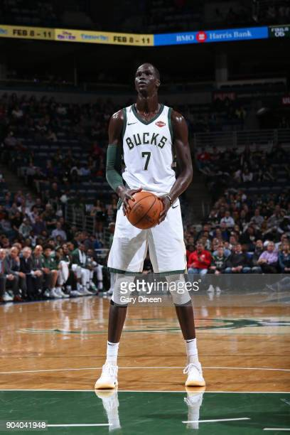 Thon Maker of the Milwaukee Bucks shoots the ball during the game against the Orlando Magic on January 10 2018 at the BMO Harris Bradley Center in...
