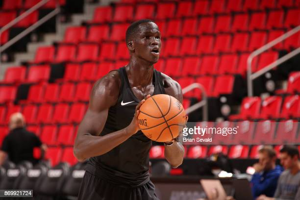 Thon Maker of the Milwaukee Bucks warms up before the game against the Detroit Pistons on November 3 2017 at Little Caesars Arena in Detroit Michigan...