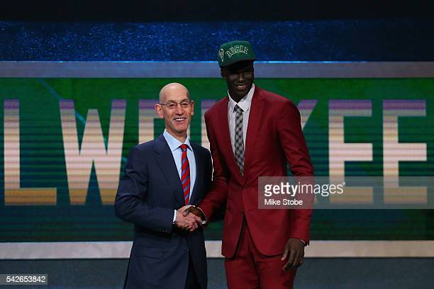 Thon Maker poses with Commissioner Adam Silver after being drafted 10th overall by the Milwaukee Bucks in the first round of the 2016 NBA Draft at...