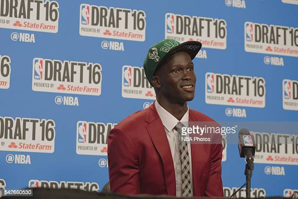 Thon Maker speaks with press after being selected tenth overall by the during the 2016 NBA Draft on June 23 2016 at Barclays Center in Brooklyn New...