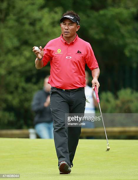 Thongchai Jaidee of Thailand acknowledges the crowd during day 4 of the BMW PGA Championship at Wentworth on May 24 2015 in Virginia Water England