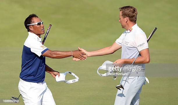 Thongchai Jaidee of Thailand beat Ian Poulter of England 3&2 on day one of the Volvo World Match Play Championship at Thracian Cliffs Golf & Beach...