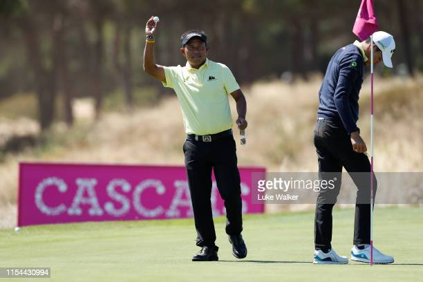 Thongchai Jaidee of Thailand celebrates his hole-in-one on the sixth hole during Day One of the GolfSixes at Oitavos Dunes on June 07, 2019 in...