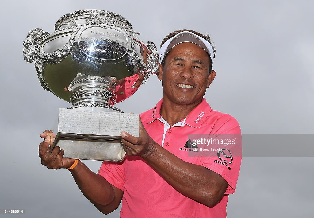 Thongchai Jaidee of Thailand celebrates his win during day four of the 100th Open de France at Le Golf National on July 3, 2016 in Paris, France.