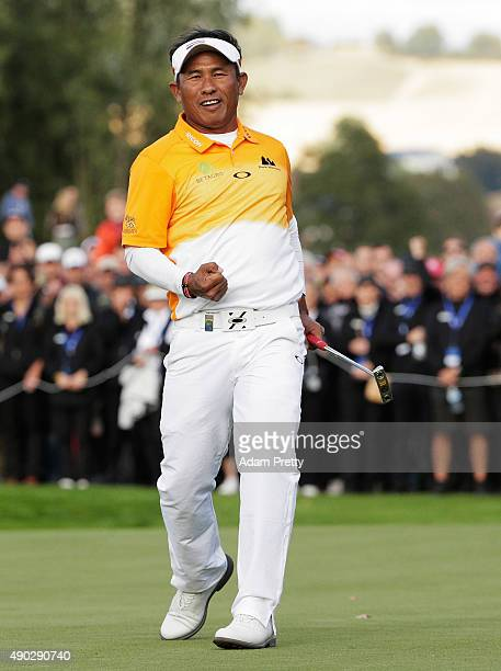 Thongchai Jaidee of Thailand celebrates victory in the final round of the Porsche European Open at Golf Resort Bad Griesbach on September 27, 2015 in...