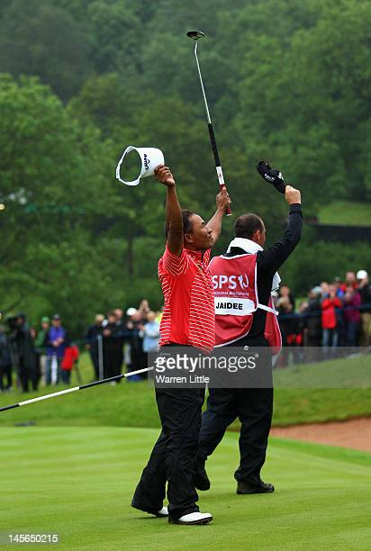Thongchai Jaidee of Thailand celebrates winning the ISPS Handa Wales Open on the Twenty Ten course at the Celtic Manor Resort on June 3, 2012 in...